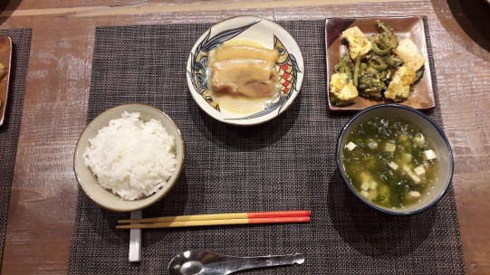 Goya Champuru, Miso Rafute, and A-sa-jiru with rice