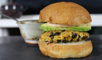 Halloween Pumpkin Black Bean Burgers