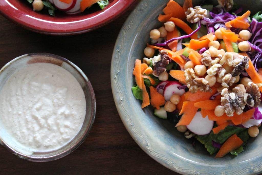 The Blue Zones Salad with Cashew Tahini Dressing