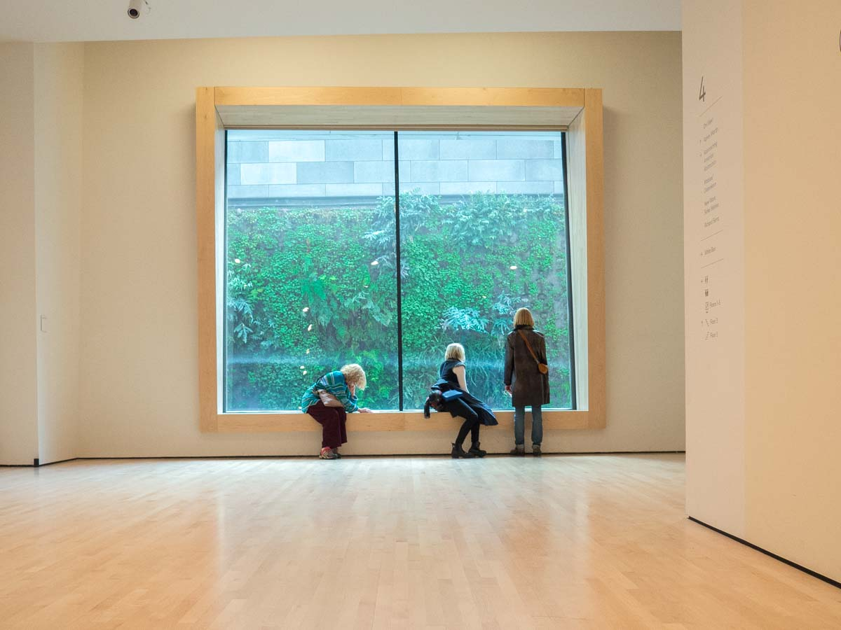 SFMOMA building: Photography spots in San Francisco. Three women looking out the window