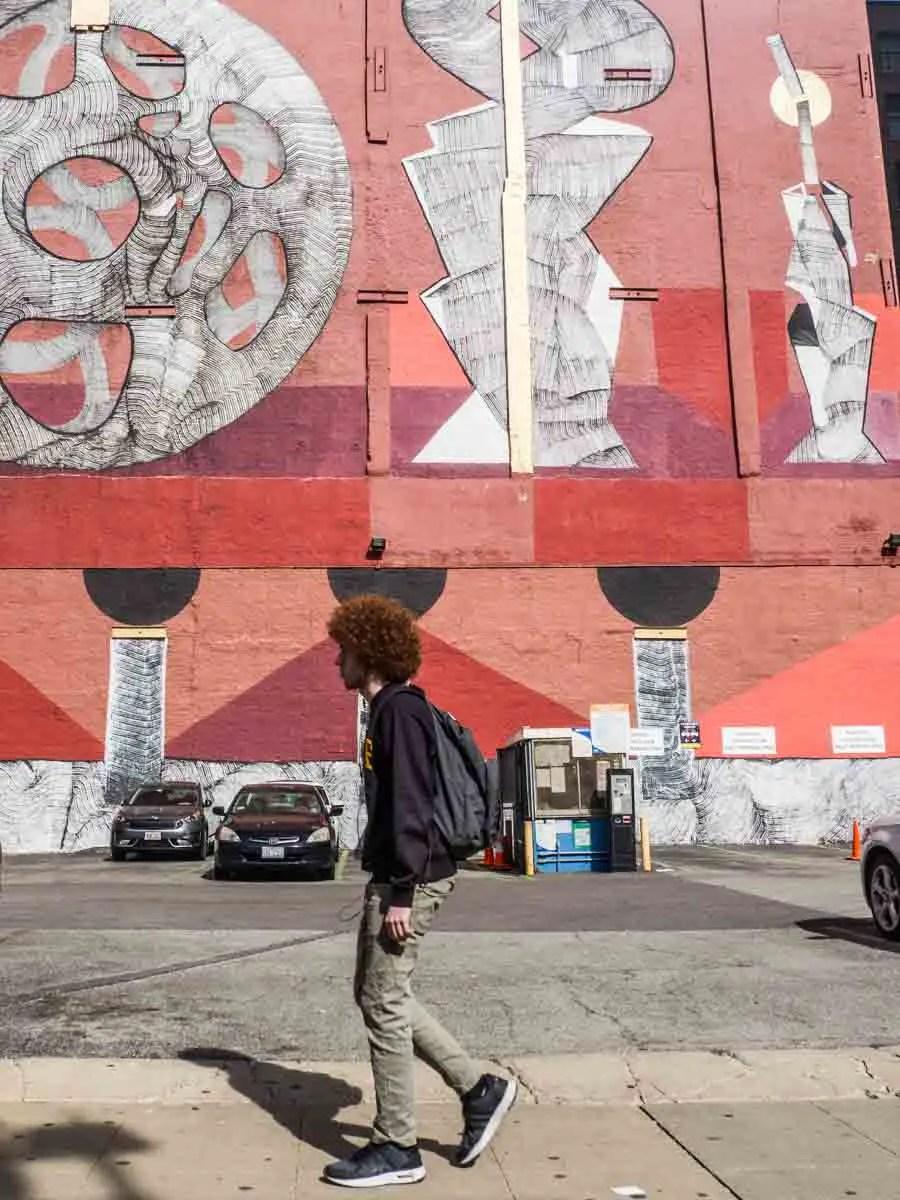 Red mural on Wabash street art corridor