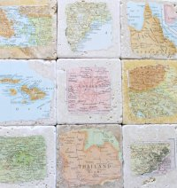 Stone coasters with vintage map prints