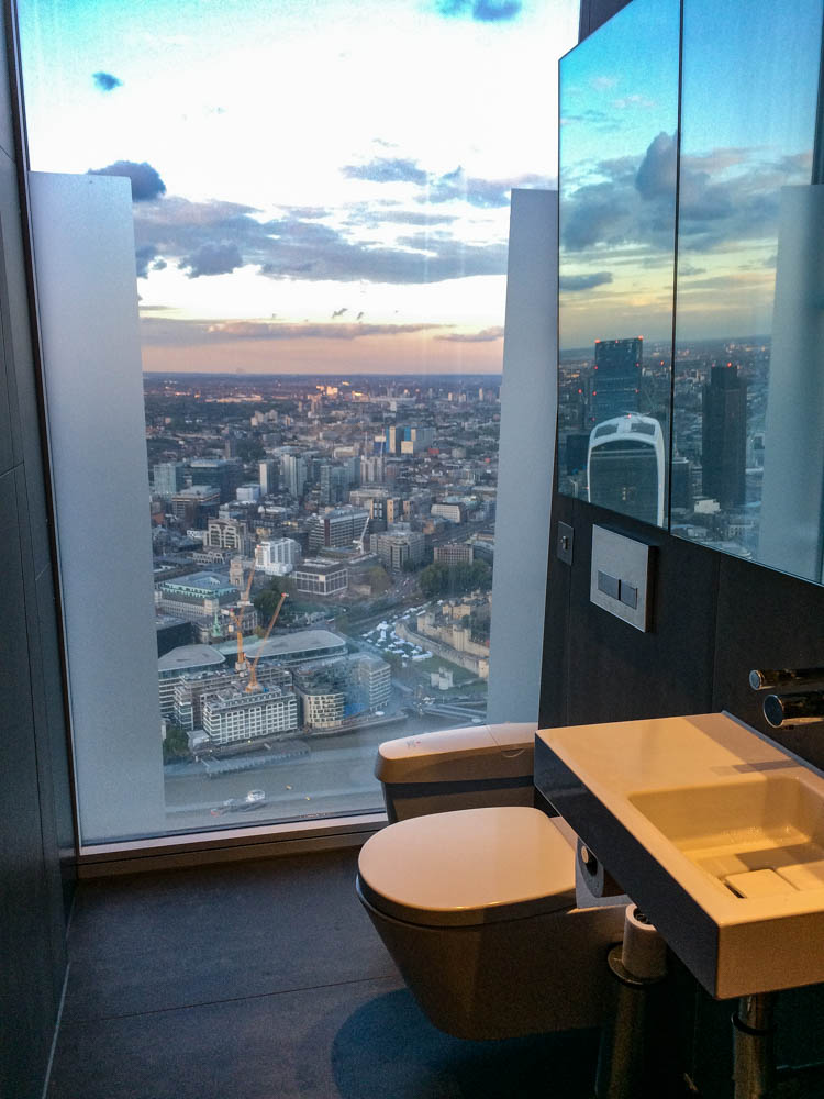Birds Eye View of London from the Shard Bathroom