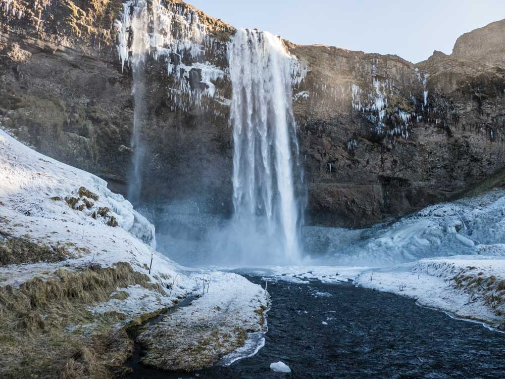 Iceland winter travel: Seljalandsfoss waterfall