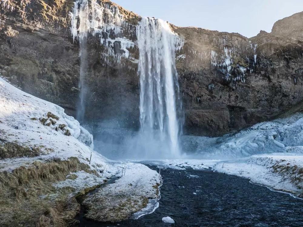 Iceland winter travel: Seljalandsfoss waterfall