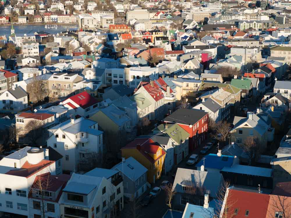 Reykjavik City View from Hallsgrimskirkja Church
