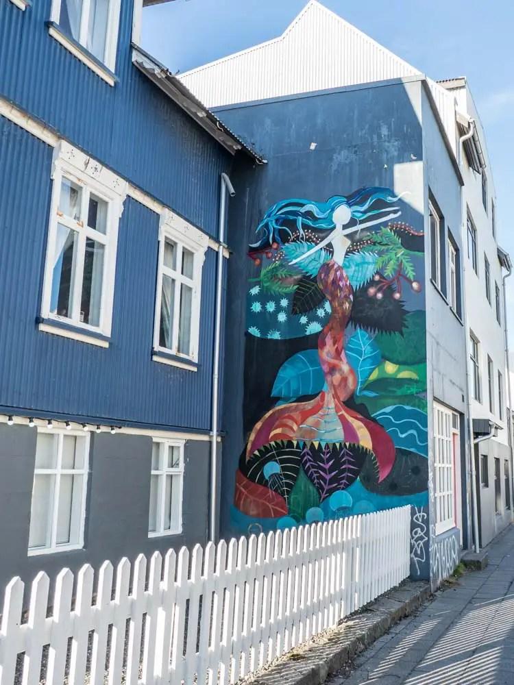 Iceland mural mermaid by Raus