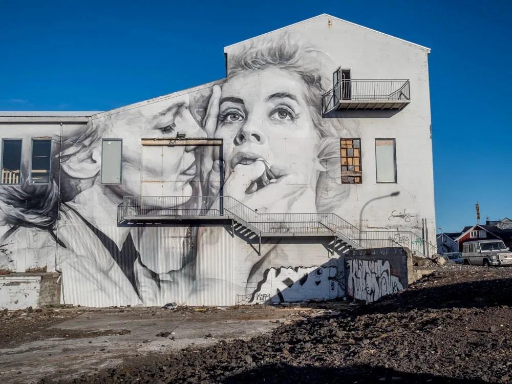 Reykjavik mural Two Women by Guido