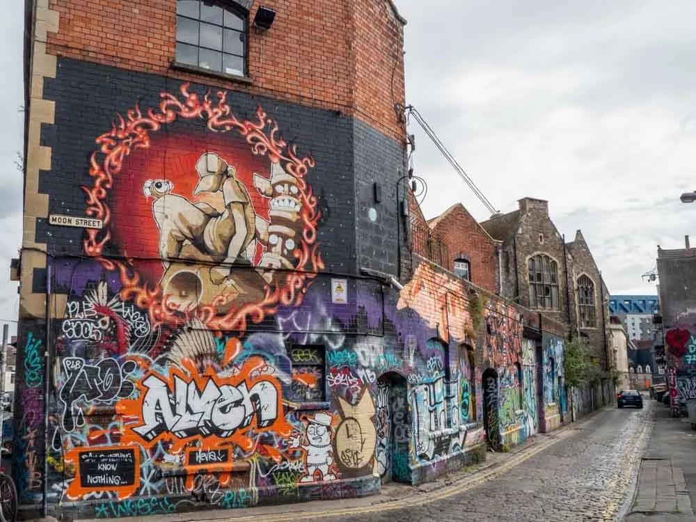 Bristol street art in Stokes Croft Moon Street