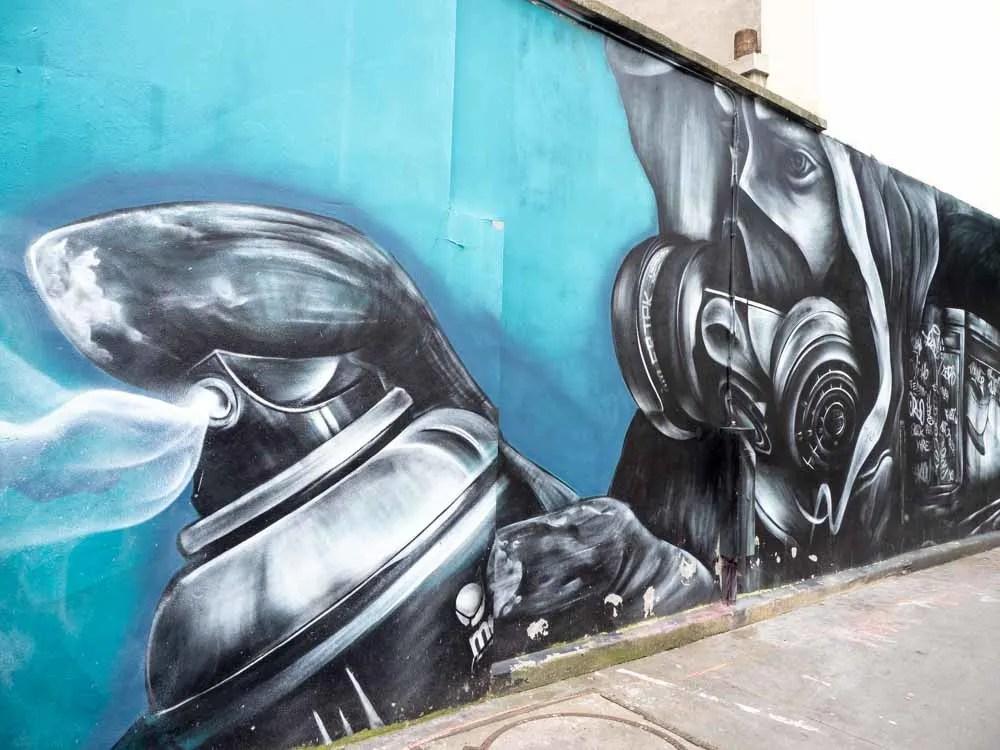 Spray paint can mural Paris 11th Arrondissement