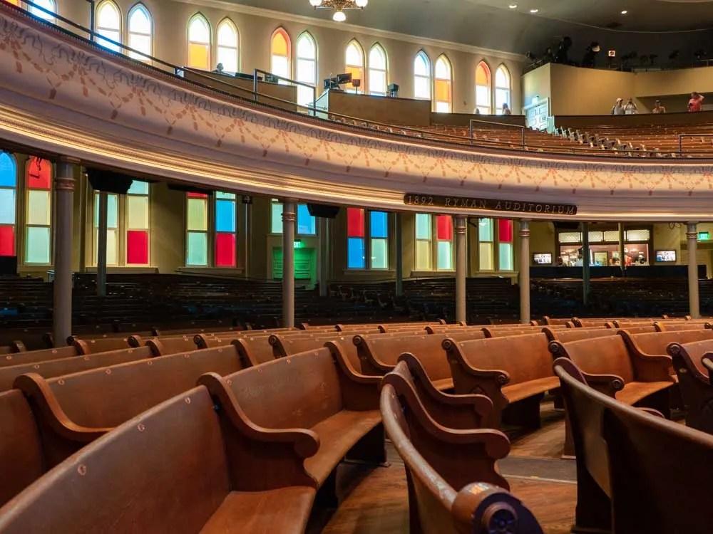 Nashville itinerary: Tour of Ryman Auditorium interior
