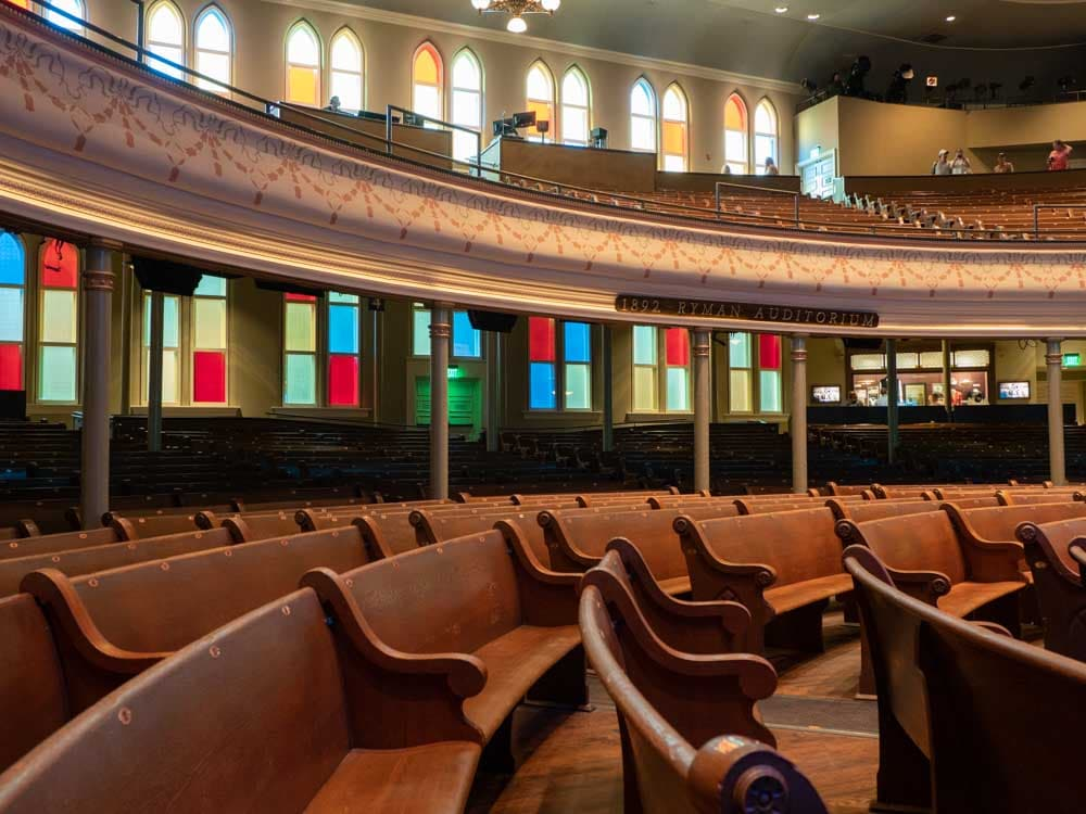 Nashville itinerary: Tour of Ryman Auditorium interior