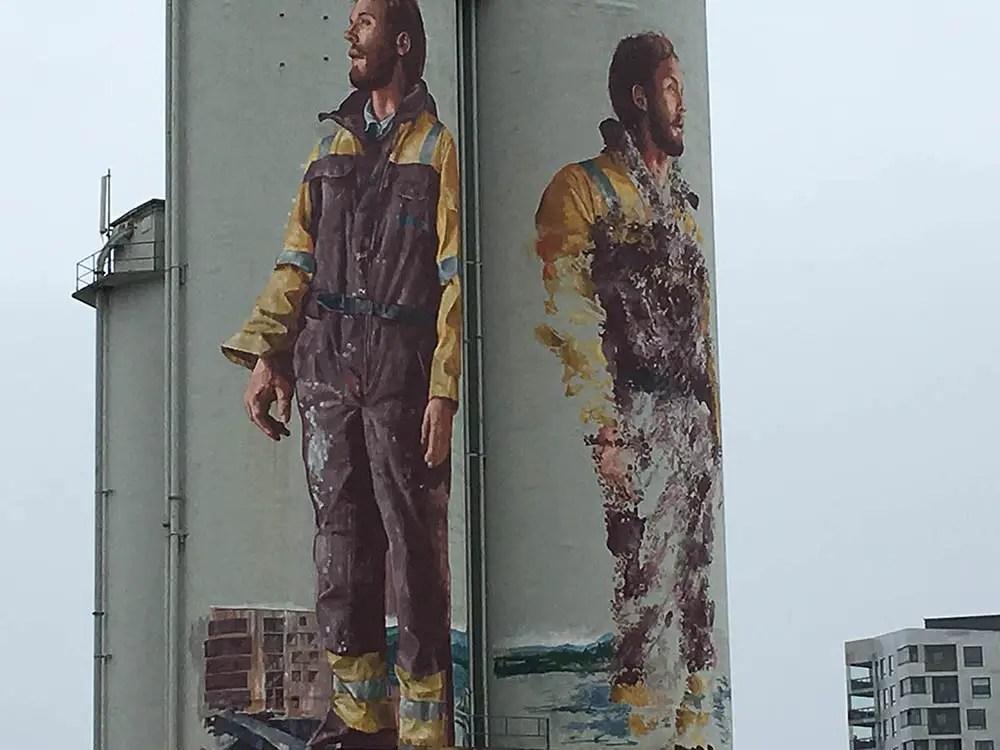 Best street art city: Stavenger Norway mural by Fintan Magee. Silo street art