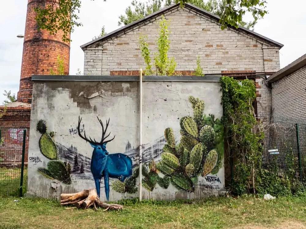 Tallinn mural by Sank blue deer