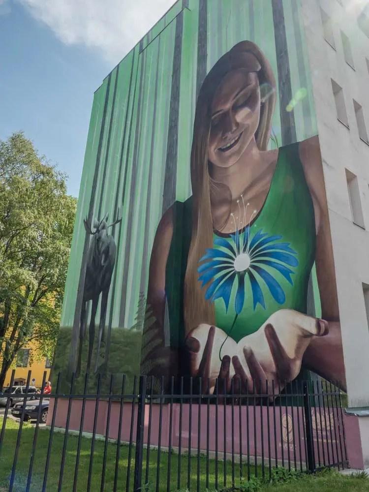 Estonia Tallinn mural girl and flower