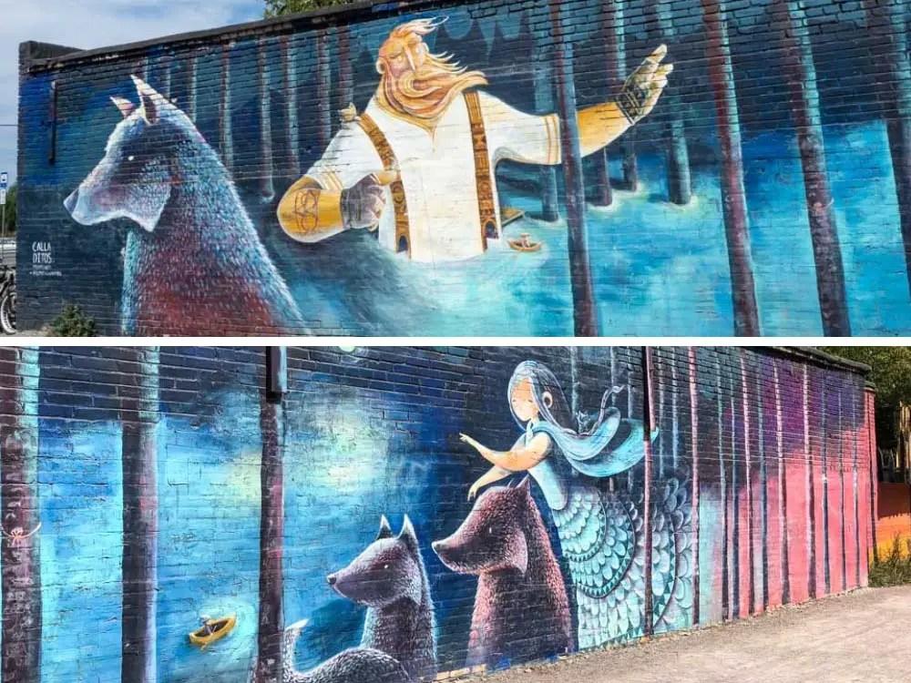 Tallinn cultural kilometer mural of Loit and Hamarik