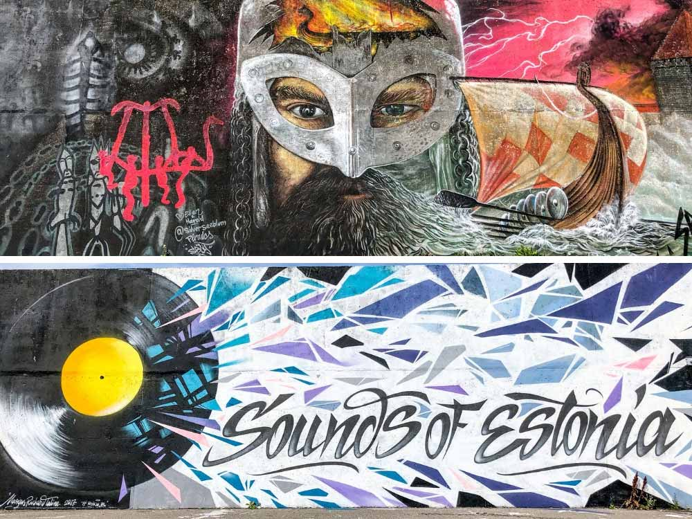 Tallinn street art murals in the harbor. Viking image and Sounds of Estonia