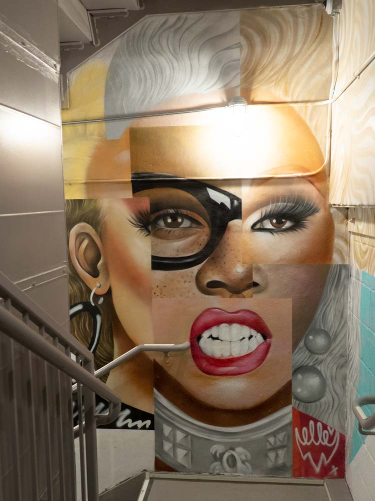 New York street art portrait of Ru Paul by Elle
