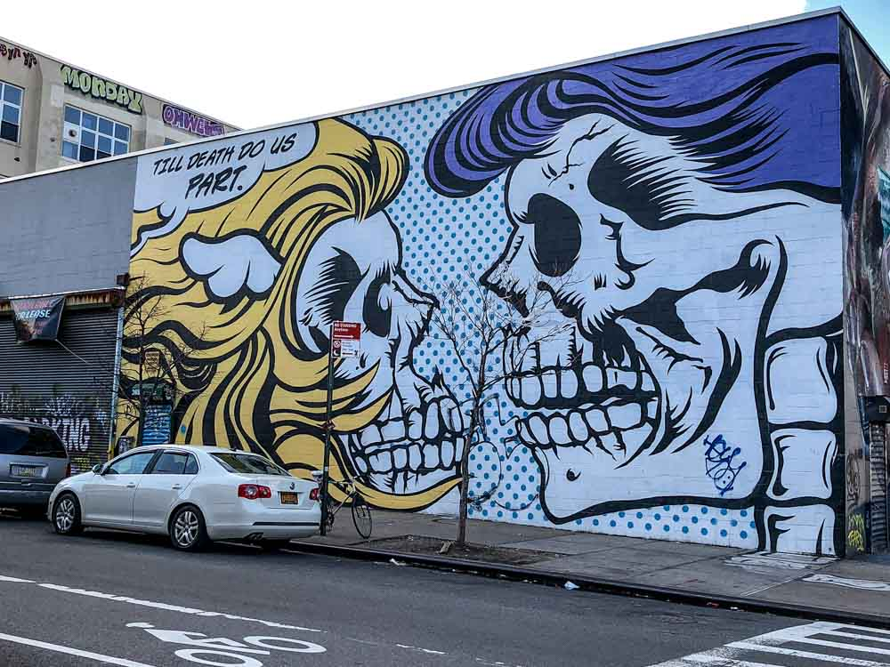 Street art NYC: Bushwick Collective D-Face skeletons