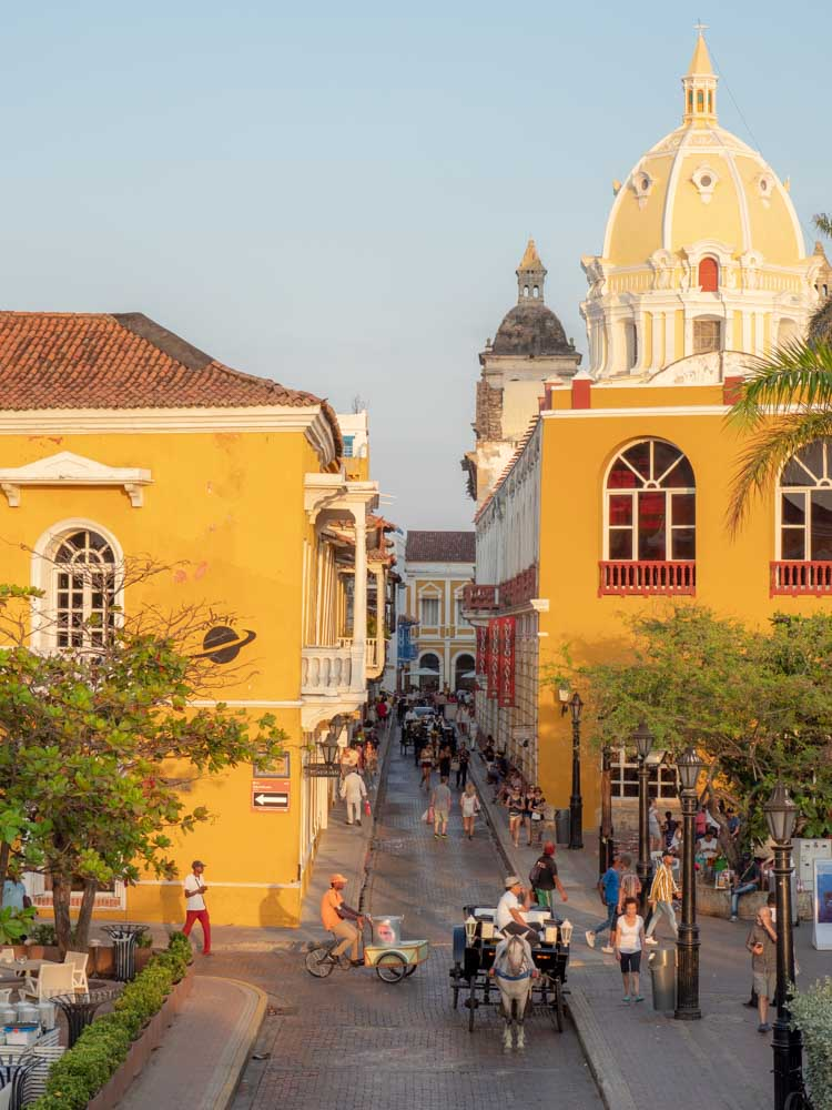 Cartagena Colombia street scene at sunset