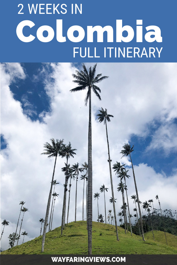 Colombia full two week itinerary. Blue image with wax palm trees