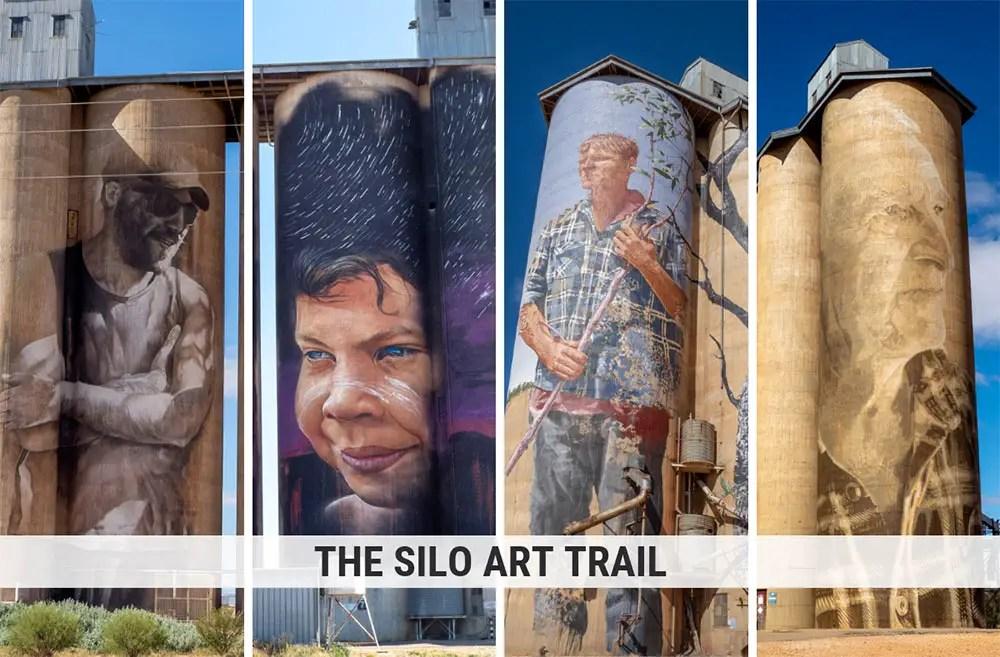 Silo Art Trail Victoria Australia. Four murals on grain silos