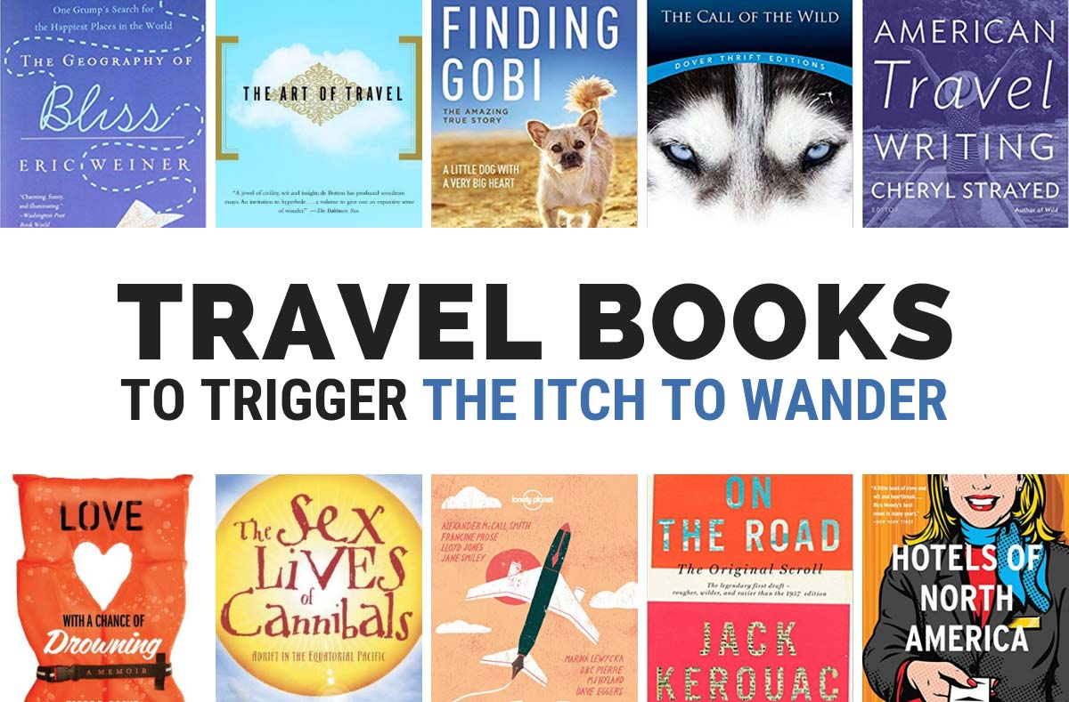 The very best travel books to read. Image with book covers