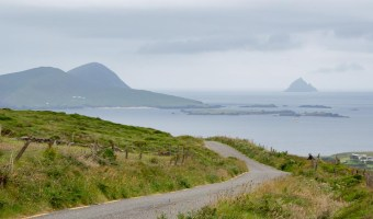 Ireland's Dingle Peninsula scenic road with islands in the distance