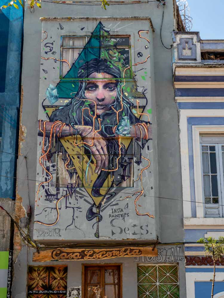 Bogota street art by Seis- woman on hostel wall
