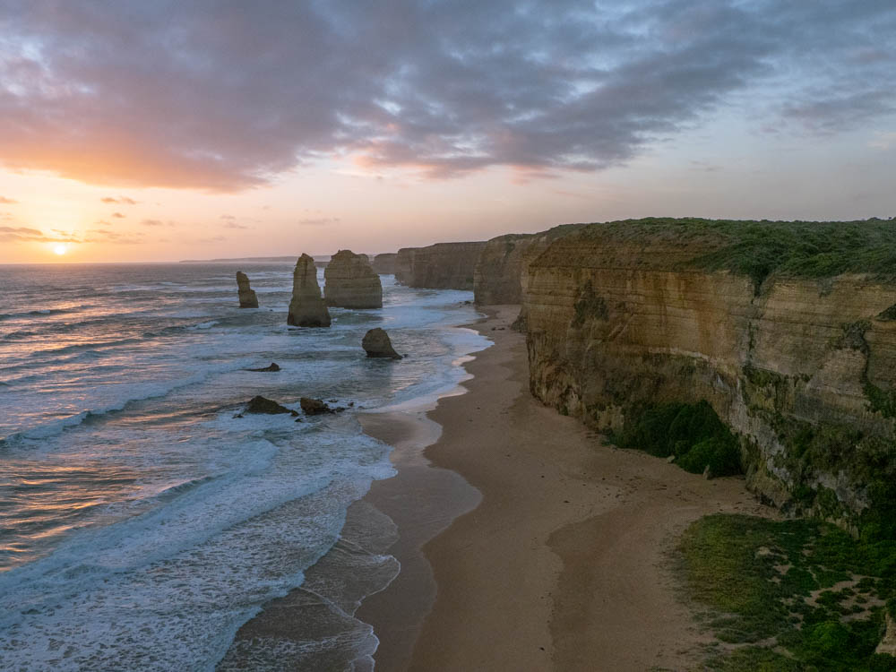 Great Ocean Road Drive 12 Apostles at dusk. Limestone stacks and coastal cliffs