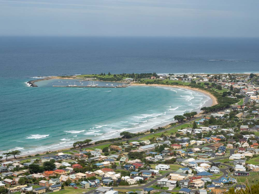 Mariners Lookout Apollo Bay Australia. Ocean bay with town and a point