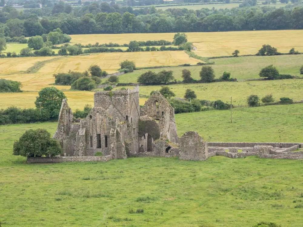 Hore Abbey Cashel Ireland. Rock ruin in a field.
