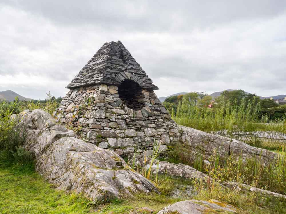 Ireland Ring of Kerry Beehive huts Sneem. Round rock structure