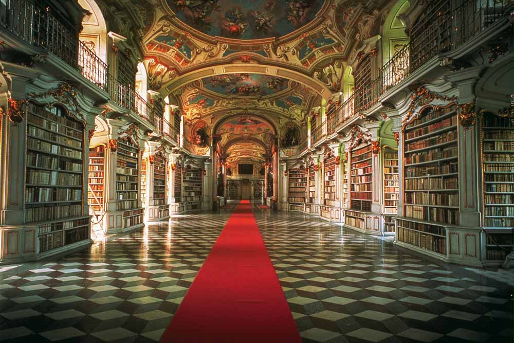 Austria Stiftsbibliothek Admont monestary library. hall with red carpet