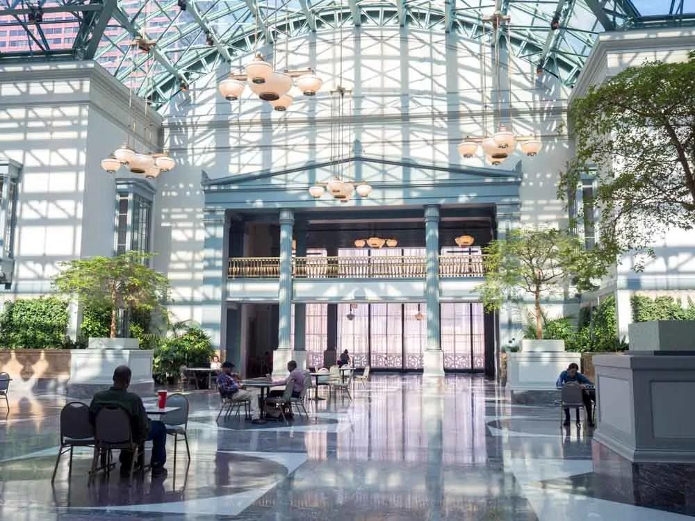 Chicago Harold Washington library atrium with light and shadows