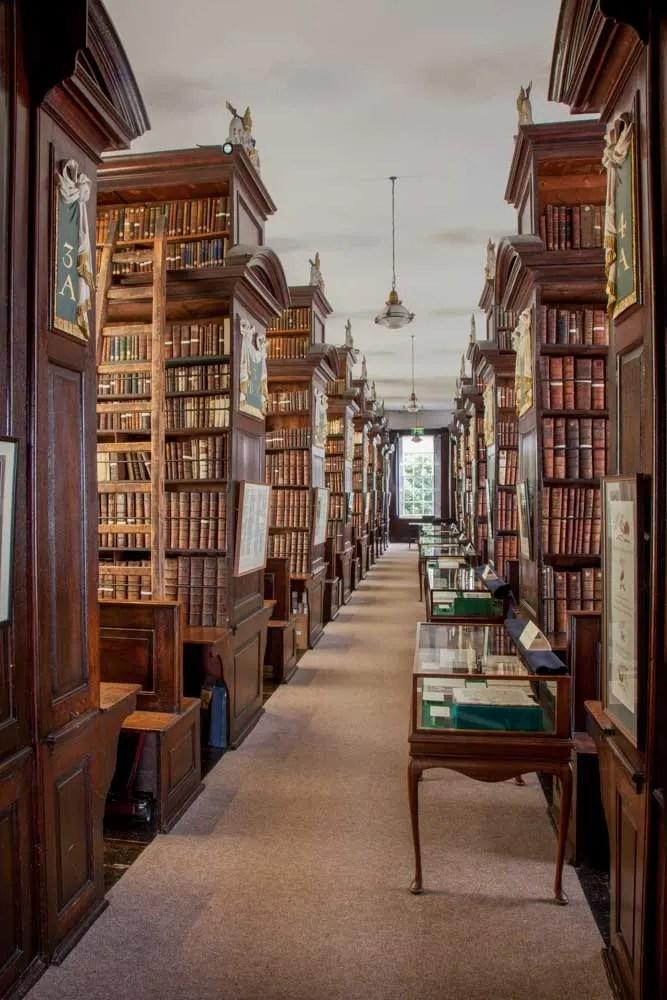 Dublin Ireland Marsh's Library shelves. vertical