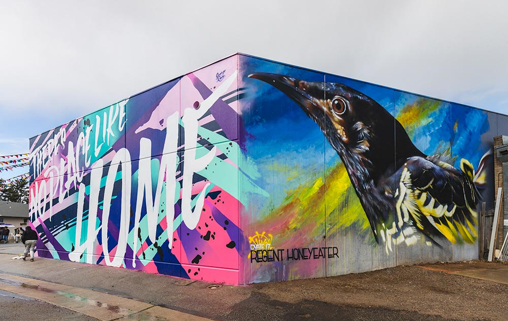 Wall to Wall mural festival Benalla Australia. Dvate mural