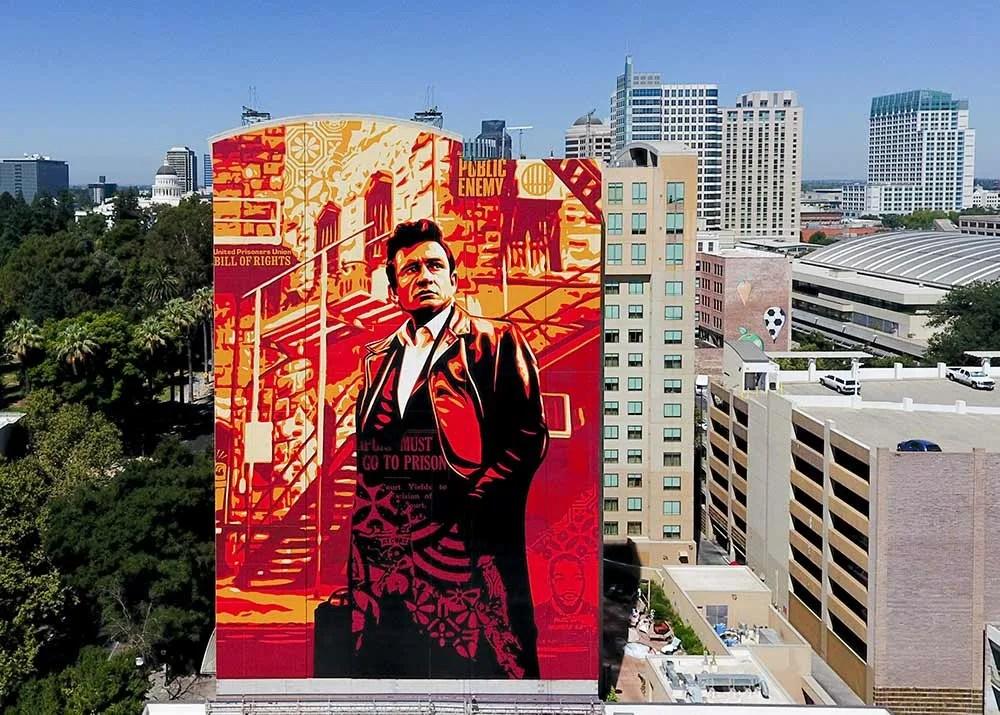 Sacramento Wide Open Walls Festival Johnny Cash by Shepard Fairey