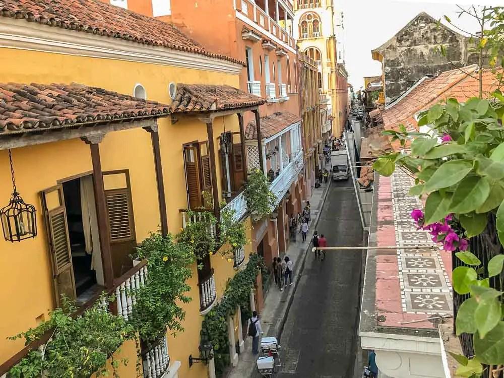 Old Town Cartagena street scene. Orange buildings from above