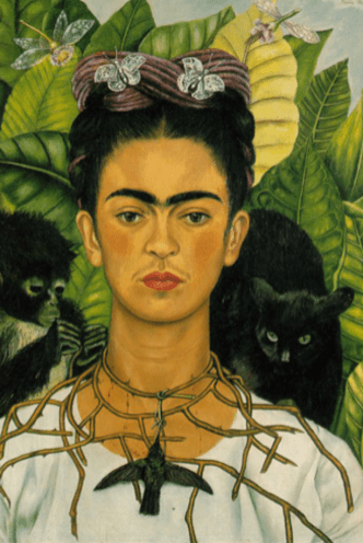 Self Portrait with Thorn Necklace and Hummingbird by Frida Kahlo