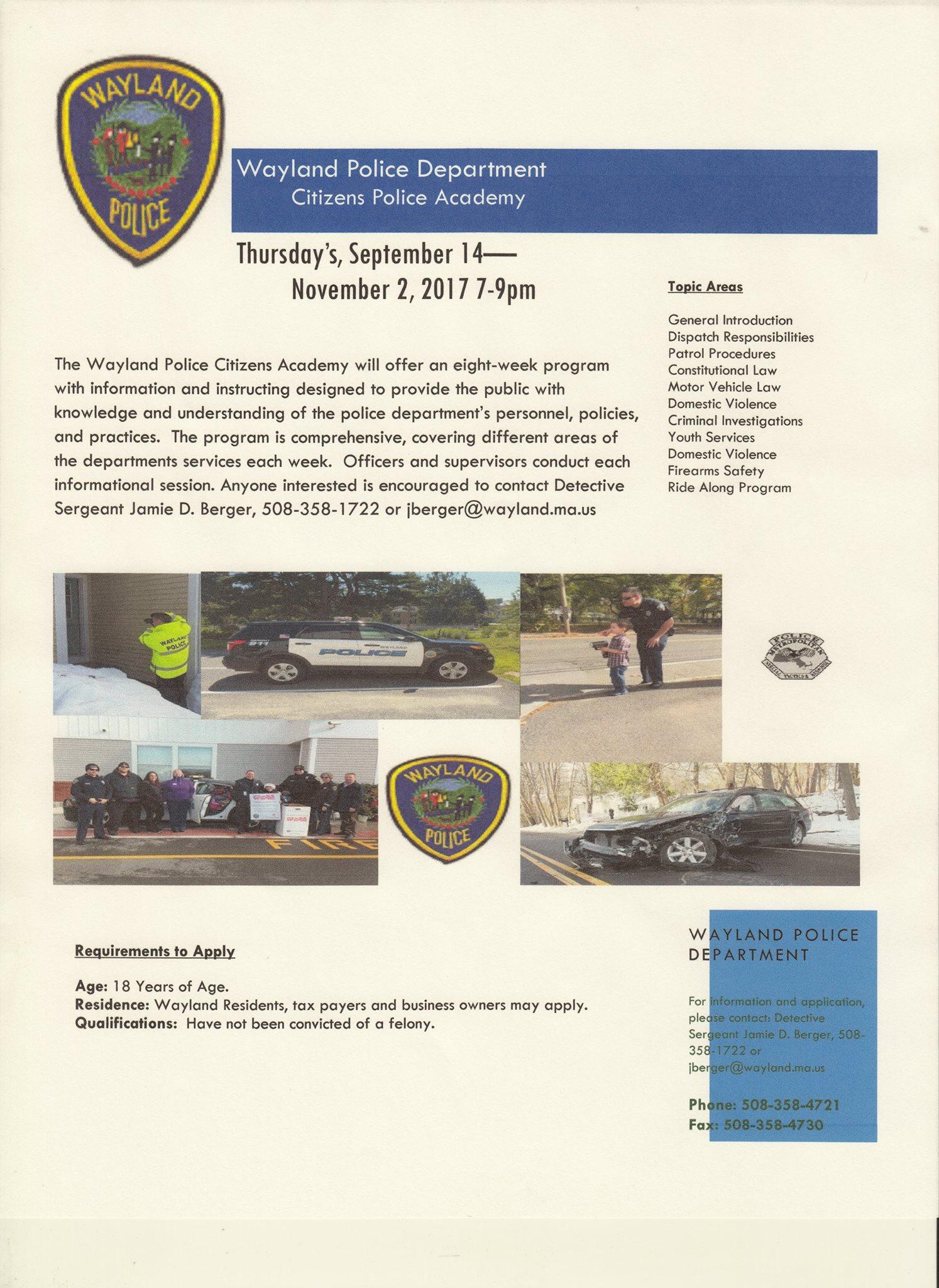 Police announce Citizen Police Academy beginning September