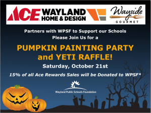 Pumpkin Painting Party and Yeti Raffle to support WPSF @ Ace Wayland Home and Design | Wayland | Massachusetts | United States