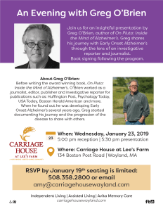An Evening with Greg O'Brien…inside the mind of Alzheimer's @ Carriage House at Lee's Farm