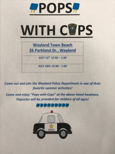 Pops with Cops - Cancelled due to Weather @ Wayland Town Beach