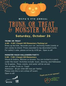 WCPA's Trunk or Treat @ Claypit Hill Elementary School Parking Lot