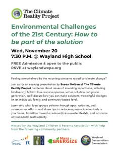 Environmental Challenges of the 21st Century: How to be part of the solution @ Wayland High School