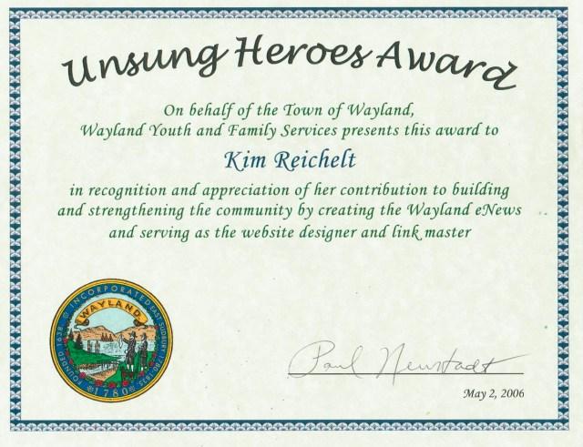 WaylandeNews' Unsung Hero Award