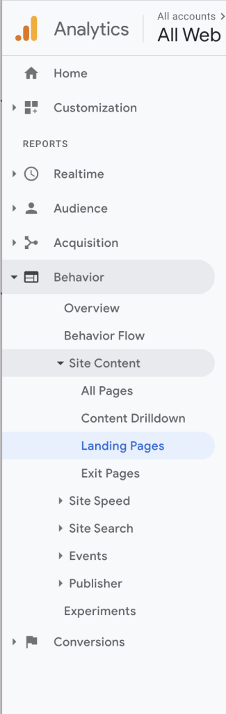 Google Analytics Landing and Exit Page Bar