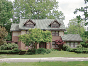 1155 Westover Road-Monique Hartle Victor and Pauline Hilgemann house, c. 1924. Dr. Victor Hilgemann was a dentist, and built this Craftman/Tudor Revival style home for this family.