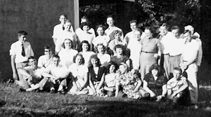 Photo provided by Larry D. Goss  Front Row: Clyde Ploughe, ?, ? Mitchell, Donna McCague-Clayton, JoAnne Watkins, Marilyn Parkinson-Roehm, Verda Clausen, ?, Scott Parkinson. Middle Row: Don Goss, Roger Ploughe, ?, ?, Evelyn Parkinson-Fultz, Helen Mutton-Herman. Back Row: ?, ?, ?, Mary Lou Smith, Mae Ploughe, Grosvenor Ward, Faye Parkinson, Bill Wetzel, ?, Ruth Hoopengardner, Lorene Sheddick, Herb Winkleman, Don Richardson, John Clayton, ? Spencer.